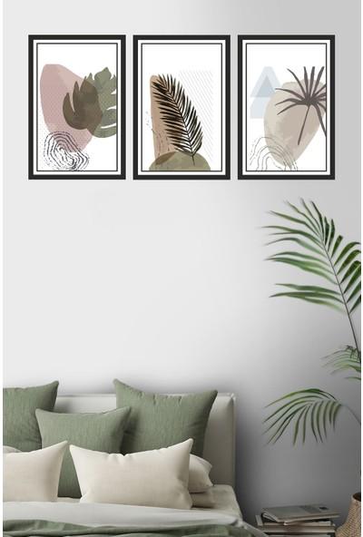 Dekor Sevgisi 3 Parça Çerçeve Görünümlü Kahverengi Yeşil Yapraklı Pvc Tablo Seti