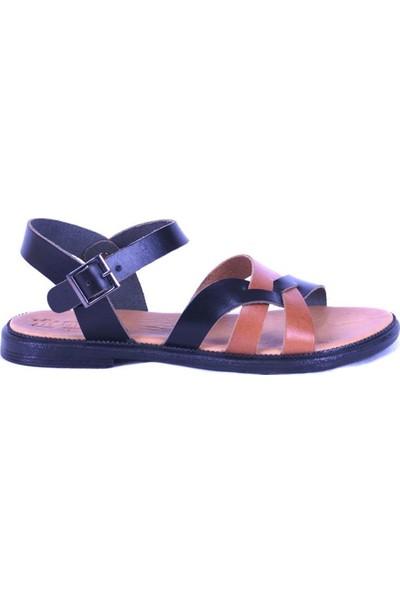 Ustalar Ayakkabı Siyah-Taba Kadın Sandalet 539.04