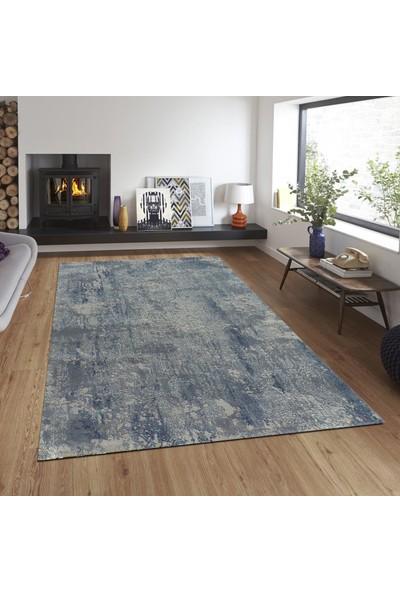 Balat Halı Modern Desenli Mavi Kalın Oturma Odası ve Salon Halısı