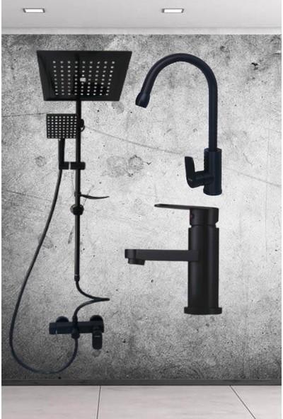 Rudi Siyah Robot Duş Seti ve Siyah Batarya Takımı