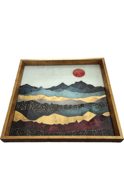 Arte Casero Cam Baskı Manzara Tepsi 40X40 cm