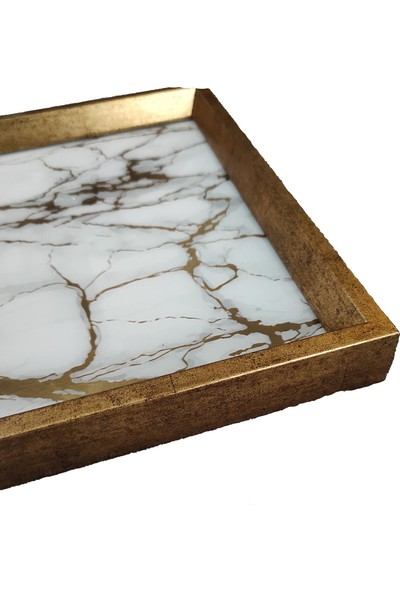 Arte Casero Cam Baskı Beyaz Mermer Tepsi 32X46 cm