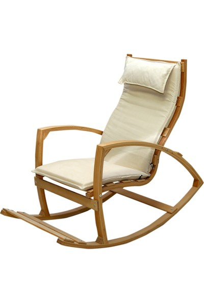 Mobildeco Ahşap Sallanan Sandalye Dinlenme Koltuğu Krem