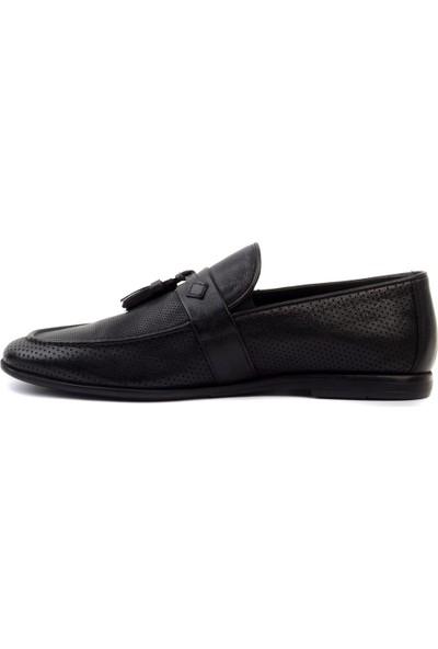 James Franco - Siyah Deri Erkek Loafer Ayakkabı