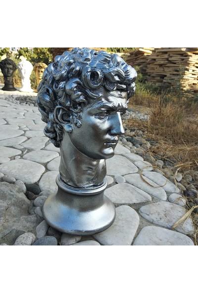 3dproductsale Gümüş Renk 32 cm Boyunda Davut Büst Biblo Dekoratif Heykel