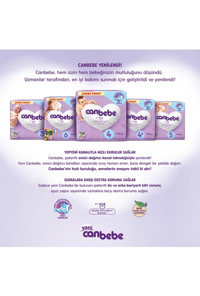 Canbebe 4 Numara Başlangıç Paketi 7-14 kg 6 Paket 120 Adet