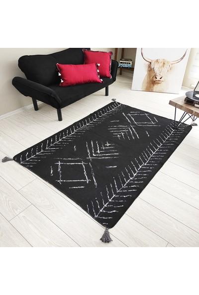 Karnaval Home Siyah Beyaz Iskandinav Desen 01 Çift Tarflı Dokuma Kilim 80 x 150 cm