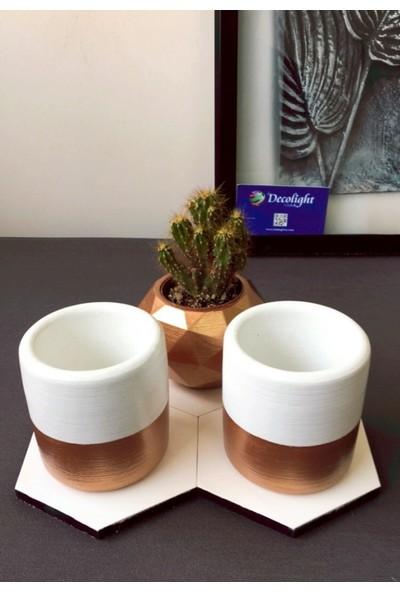 3lü Beton Beyaz-Bronz Saksı ve Beyaz Ahşap Altlık(Çiçeksiz)