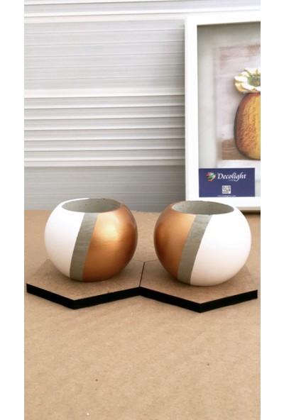Decolight 2'li Beyaz - Bronz Silindir Model Beton Saksı (Çiçeksiz)