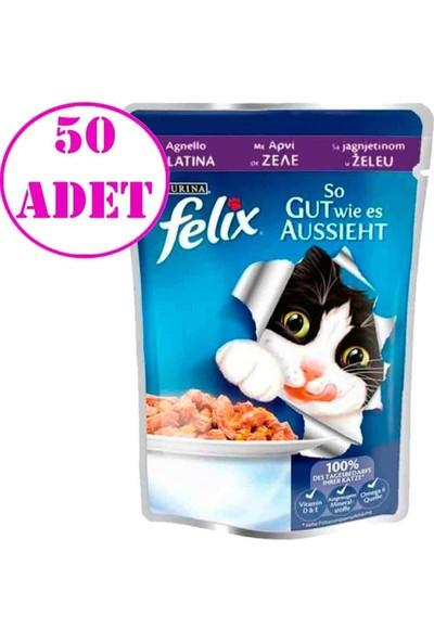 Felix Kuzu Etli Yaş Kedi Maması 100 gr 50 Adet