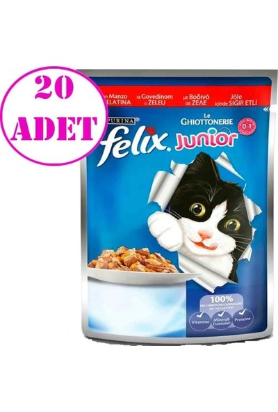 Felix Junior Sığır Etli Yavru Kedi Maması 100 gr 20 Adet