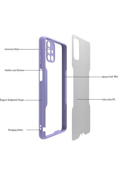 Samsung Galaxy M51 Kılıf Kamera Korumalı Renkli Kenar Şeffaf Sırt Yumuşak Silikon