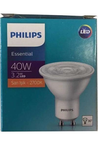 Philips Essential 3,2W (40W) LED Ampul Sarı 2700K GU10 Duy