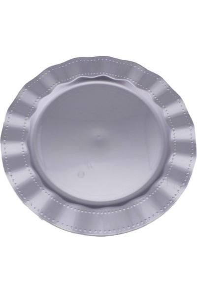 Kristal Lüks Sert Plastik Tabak Renkli 26 cm 6 Adet Gümüş
