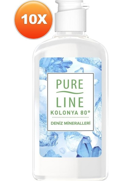 Pure Line Deniz Mineralleri 80 ° Kolonya 250 ml 10 Adet