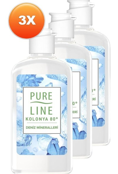 Pure Line Deniz Mineralleri 80 ° Kolonya 250 ml 3 Adet