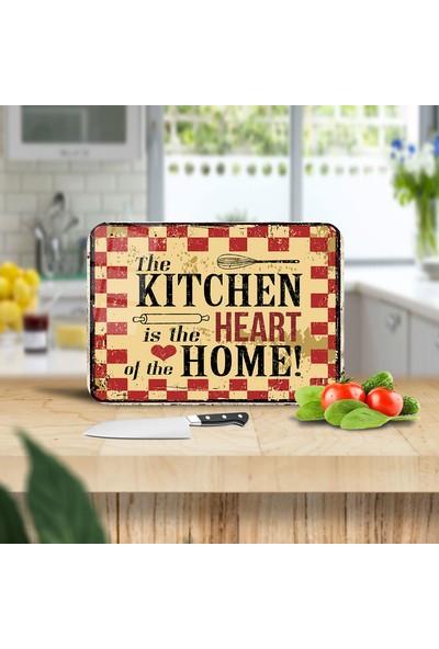 Ayna Evim My Kitchen Home Desenli Güvenli Cam Kesme Tahtası 25 x 35 cm
