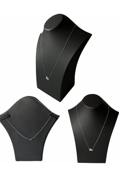 Hedef Bijuteri Siyah Deri Manken,boyun Büst, Kolye Sergileme Vitrini (30 Cm)