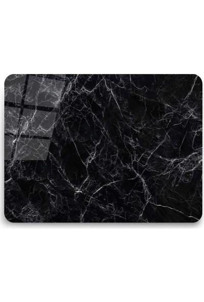 Ayna Evim Siyah Mermer Desenli Güvenli Cam Kesme Tahtası 25 x 35 cm
