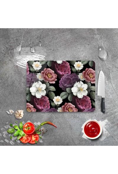 Ayna Evim Retro Renkli Çiçek Desenli Güvenli Cam Kesme Tahtası 25 x 35 cm