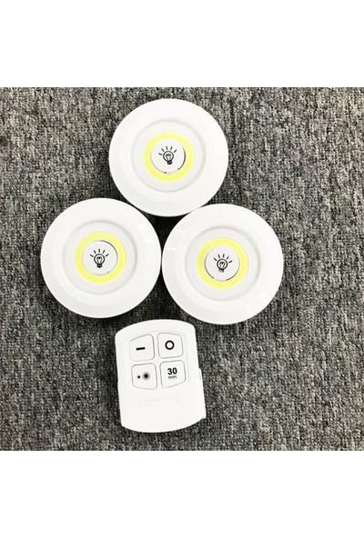 Akesse Uzaktan Kumandalı 3 Lü Ayarlanabilir Spot LED Işık Kablosuz Lamba