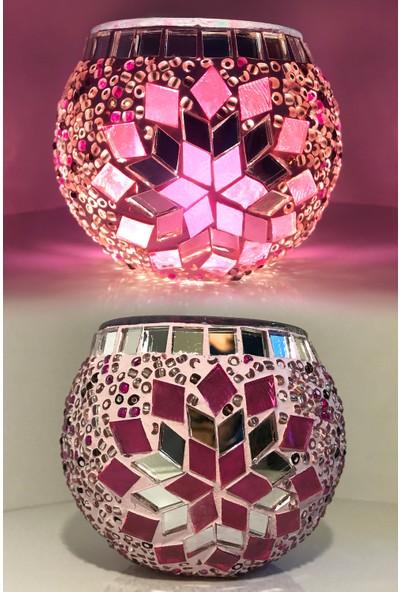 Damas Mozaik Pembe Yıldız Modeli Mozaik Mumluk