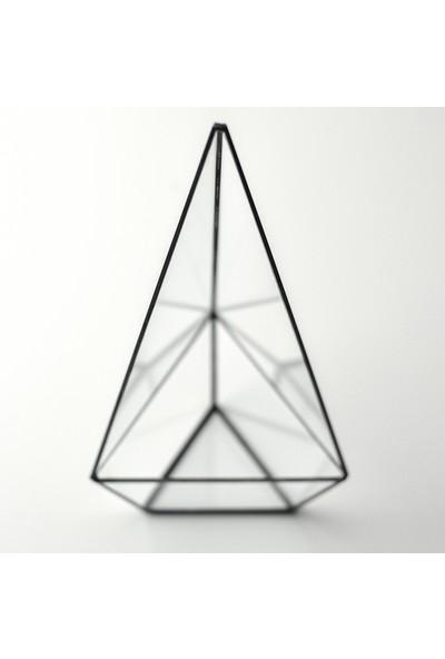 El Crea Designs Teraryum Geometrik Cam Fanus Siyah Antrasit El Yapımı