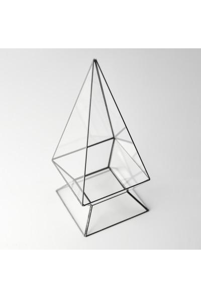 El Crea Designs Teraryum Geometrik Cam Prizma Fanus Siyah Antrasit