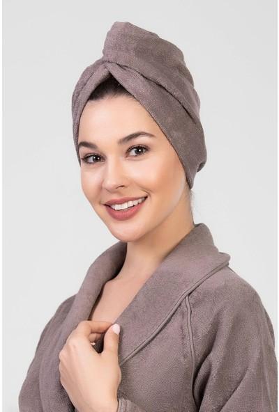 Elmira Textile Elmira Pamuklu Kadın Erkek Havlu Saç Kurutma Bonesi Kahverengi