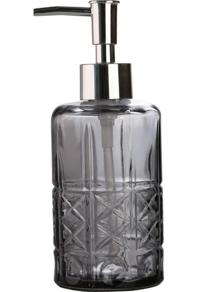 Bosphorus Cam Sıvı Sabunluk,yıldız Desenli Koyu Gri Model 300ML 6,8X17,6CM