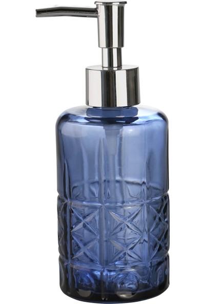Bosphorus Cam Sıvı Sabunluk,yıldız Desenli Mavi Model 300ML 6,8X17,6CM