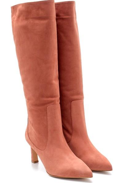 Derimod Kadın Nubuk Deri Topuklu Çizme