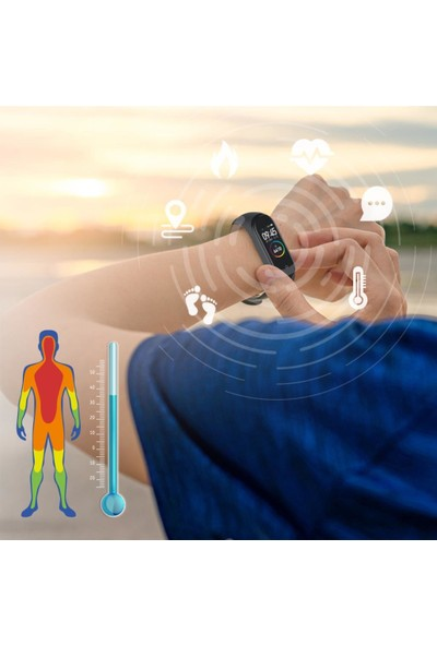 Polosmart PSSW07 Smart Life Ateş Ölçerli Akıllı Bileklik Siyah