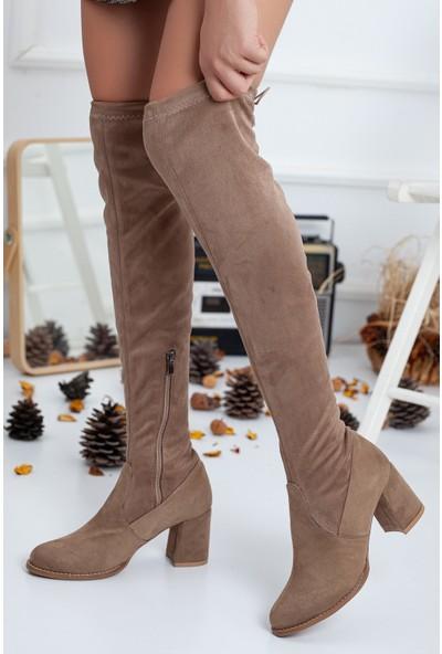 Gult Shoes Çorap Çizme, Diz Üstü Çizme Vizon Süet Topuklu Streç ve Esnek Çizme.