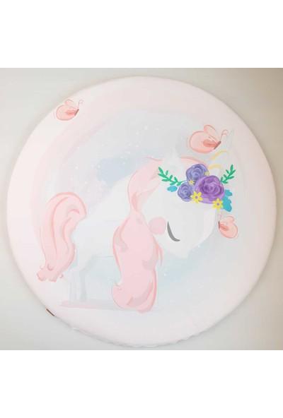 Baby Z Unicorn Desenli Büyük Yuvarlak Oyun Matı