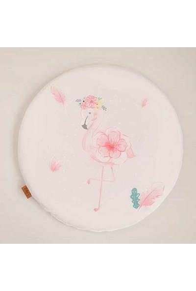 Baby Z Flamingo Desenli Küçük Yuvarlak Oyun Matı