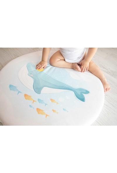 Baby Z Balina Desenli Küçük Yuvarlak Oyun Matı