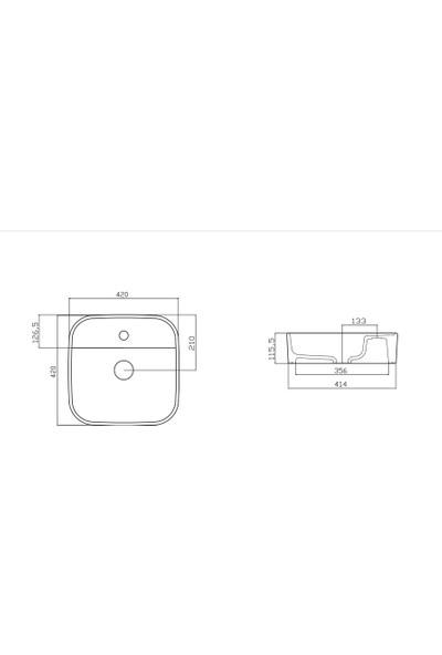 Güral Vit Nova 42 x 42 cm Mobilya Üstü Lavabo Dış Turuncu / Iç Beyaz