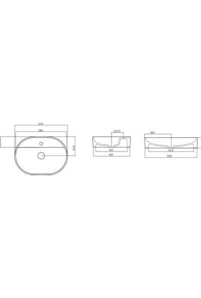 Güral Vit Nova 40 x 60 cm Oval Mobilya Üstü Lavabo Kırmızı