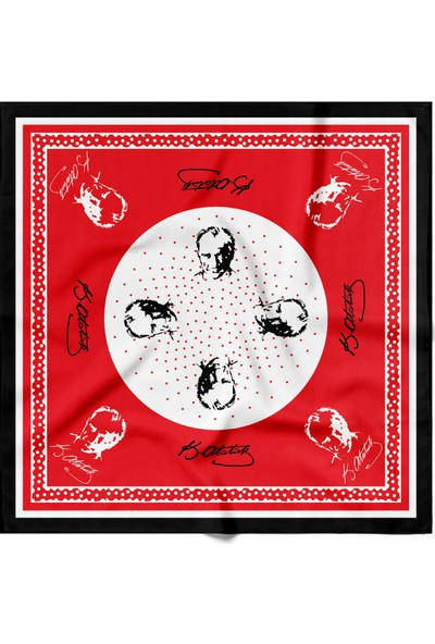 Atatürk Temalı Bandana Beyaz Siyah Kırmızı