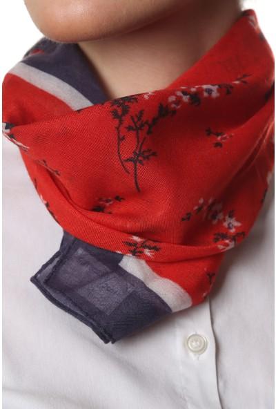 Kadın Kırmızı Mavi Bandana %100 Pamuk