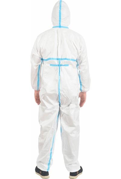 Tek Kullanımlık Mavi Bantlı Kapüşonlu 53-55 gr Tulum (Type 3/4 Protective Coverall)