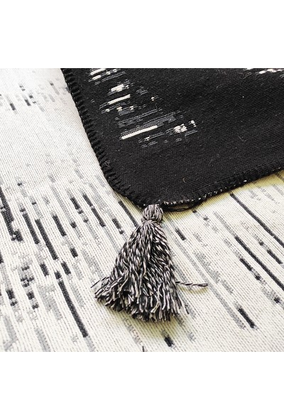 Karnaval Home Siyah Beyaz Iskandinav Desen 05 Çift Tarflı Dokuma Kilim 80 x 150 cm
