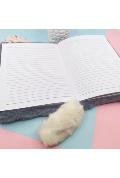 Şeker Ofisi Sevimli Kedi Peluş Defter Gri