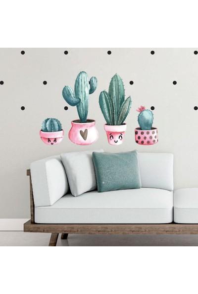 Dijitalya Dekoratif Saksıda Kaktüsler Duvar Sticker Seti