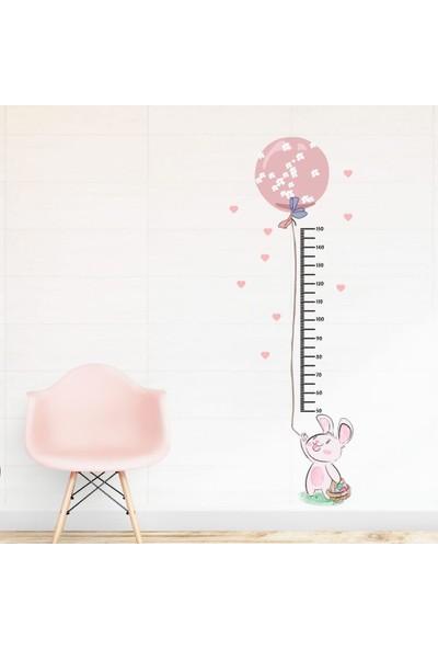 Dijitalya Sevimli Tavşan ve Balon Boy Cetveli Çocuk Odası Duvar Sticker