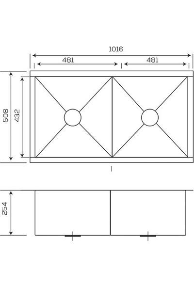 Crauf Evye Vertice 1016*508*254 mm Inox