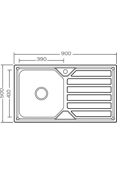 Crauf Evye Luna 900X500X230 mm Sağ Inox