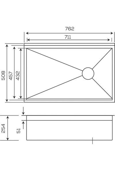 Crauf Evye Vertice 762*508*254 mm Inox