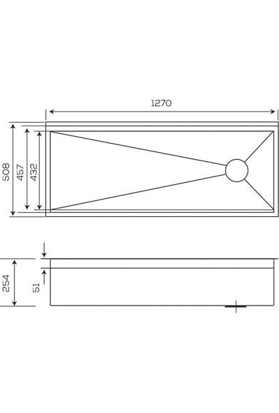 Crauf Evye Vertice 1270*508*254 mm Inox